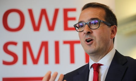 Owen Smith speaking at Salford University earlier this month.