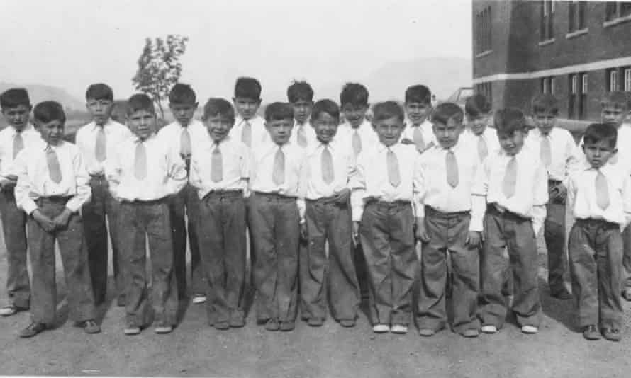 Children held at the Kamloops Indian Residential School in Kamloops, British Columbia, in 1931, where unmarked graves have been found with the remains of 215 children whose deaths were undocumented.