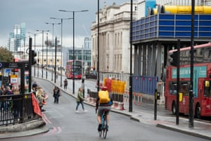Cyclists ride across London Bridge which was closed to traffic as part of the event