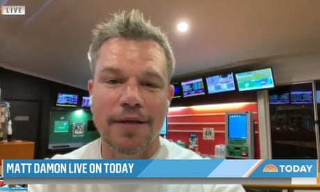 Good Will punting? Matt Damon does live US TV interview from an Australian pub's gaming room – video