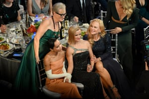 Stars of Big Little Lies, Meryl Streep, Zoë Kravitz, Reese Witherspoon, Nicole Kidman, and Laura Dern pose for a photograph