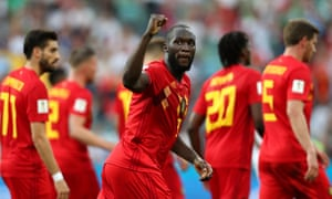 Romelu Lukaku celebrates after scoring his first, and Belgium's second, of the match in Sochi.
