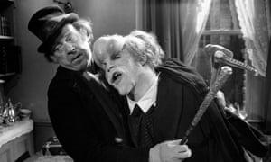 Freddie Jones as Mr Bytes with John Hurt in The Elephant Man, 1980.