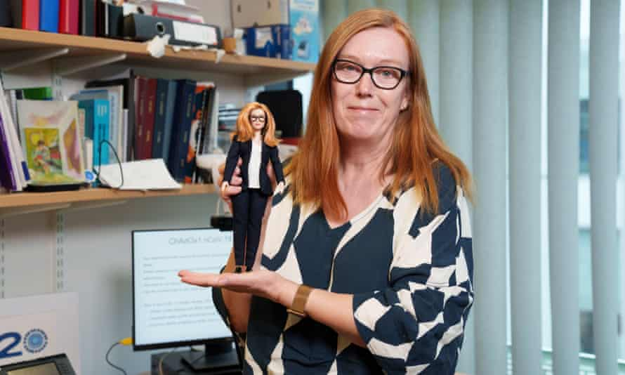 Prof Sarah Gilbert receives her Barbie doll in Oxford
