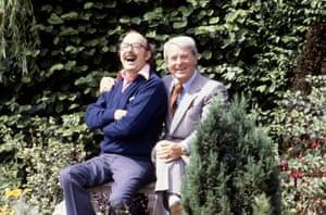The comedy duo in Eric Morecambe's garden in Harpenden, in 1979