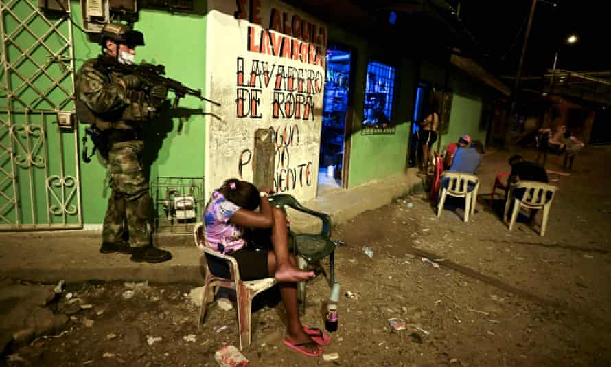 Soldiers patrol the streets of Buenaventura, Colombia