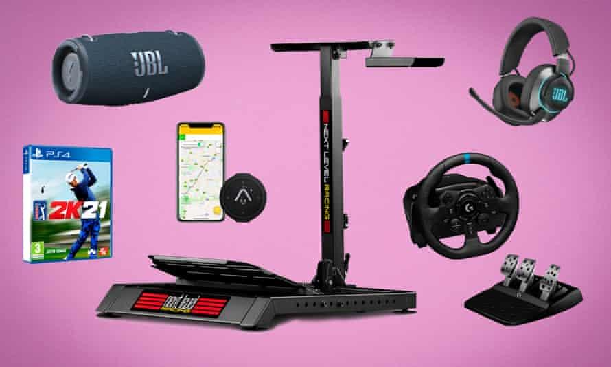 Clockwise: JBL Flip 5, Wheel Stand Lite, JBL Quantum 600 gaming headset, Logitech.com G923 Steering Wheel and pedal Kit, Beeline Velo bike navigator, PGA 2K21 golf sim