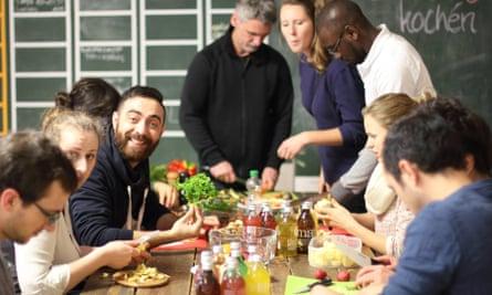 a cooking class run by Über den Tellerrand, Berlin.