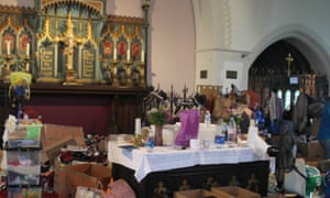Donations inside the church of St Clement's, Notting Dale