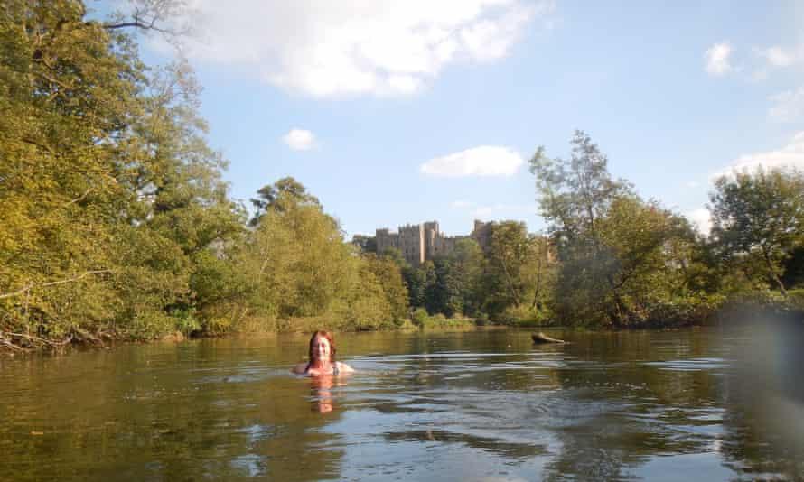 Jules McRobbie in the river Teme in Ludlow
