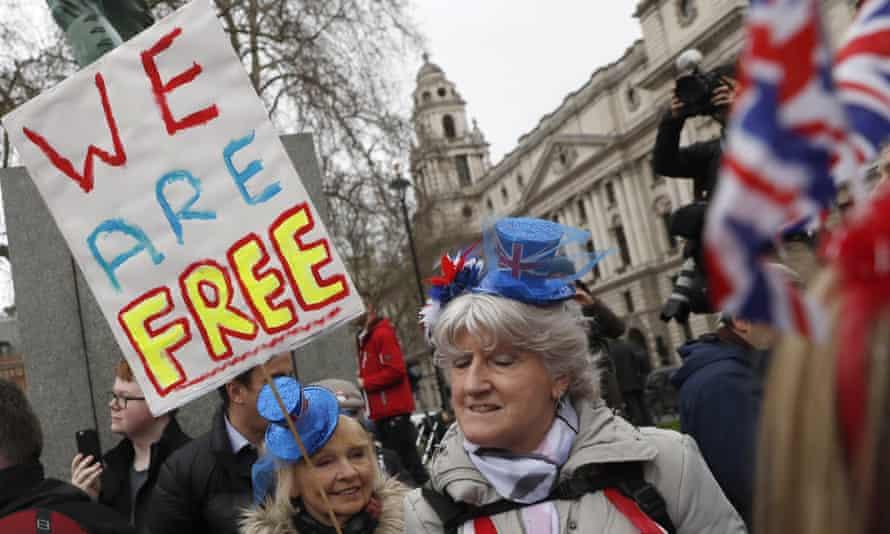 Brexiters celebrating in London, January 2020.