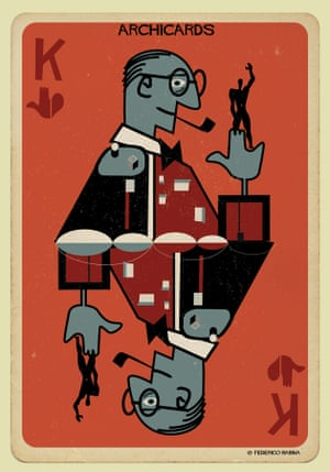 Le Corbusier portrayed in one of Federico Babina's Archicards