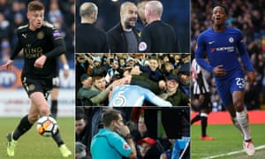 Clockwise from left: Harvey Barnes, Pep Guardiola, Michy Batshuayi, Referee Craig Pawson watches a VAR monitor and Coventry fans celebrate.