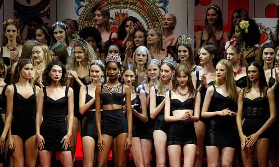 Models at Dolce & Gabbana's show in Milan.