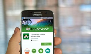 The TripAdvisor website on a mobile phone screen