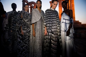 The collection was inspired by ideas from ancient Greece, such as the findings of philosopher Socrates, who Katrantzou said was an inspiration.