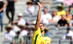 Mitchell Starc of Australia bowls during the first One-Day International (ODI) match between Australia and South Africa.