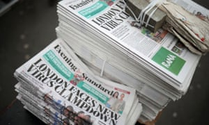 Copies of the Evening Standard at London's Liverpool Street station on 17 March