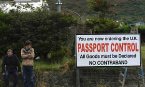 A mock sign set up by anti-Brexit campaigners Borders Against Brexit at the border town of Carrickcarnon on 8 October 2016.