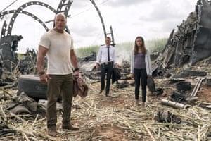 Uh-oh … Dwayne Johnson, Jeffrey Dean Morgan and Naomie Harris.