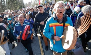 Indigenous leaders and others demonstrate against the expansion of the Kinder Morgans Trans Mountain pipeline project in Burnaby, British Columbia, Canada on 10 March.