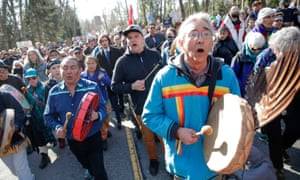 Indigenous leaders and others demonstrate on 10 March 2018 against a different pipeline expansion by Kinder Morgan in British Columbia, Canada.