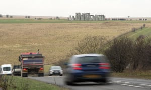 Traffic passing Stonehenge on the A303 in Wiltshire.