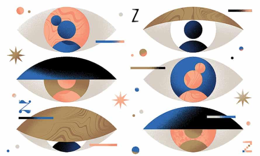 Six eyes with closing eyelids
