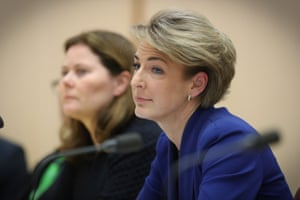 Employment Minister Michaelia Cash under questioning from Doug Cameron once the Buzzfeed story dropped.