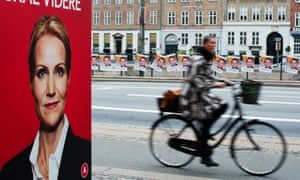 Political advertisement in Copenhagen shows Helle Thorning Schmidt, former PM of Denmark