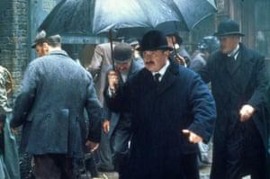 Bob Hoskins as Verloc in the 1996 film of The Secret Agent