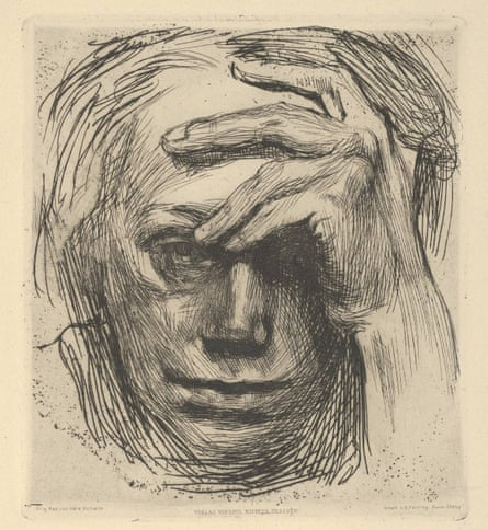 Self-Portrait with Hand on the Forehead by Kathe Kollwitz