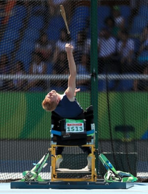 Great Britain's Stephen Miller competing in the men's club throw F32 final