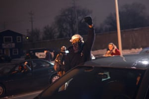 Kenosha, Wisconsin, US – Demonstrators travel in a convoy to protest against Kenosha county district attorney Michael Graveley's announcement that no charges would be filed against police officer Rusten Sheskey in the shooting of Jacob Blake. Sheskey shot Blake seven times in the back while responding to a domestic dispute, which led to several days of rioting and unrest in the city.