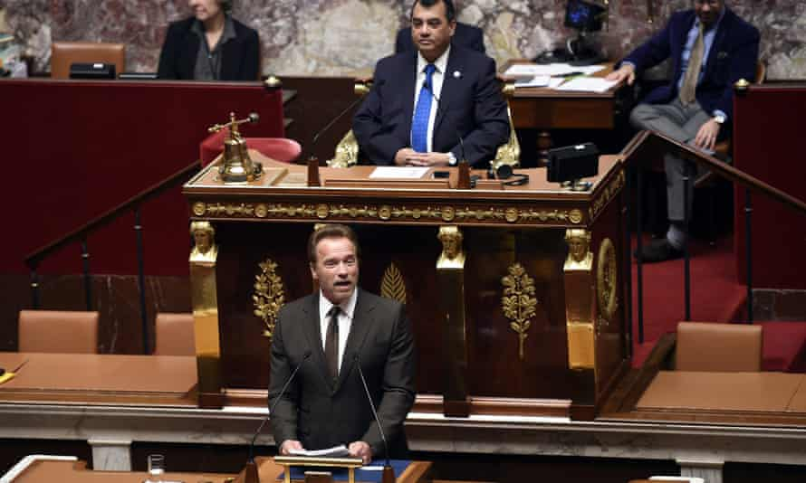 Former governor of California and actor Arnold Schwarzenegger delivers a speech to the French parliament.