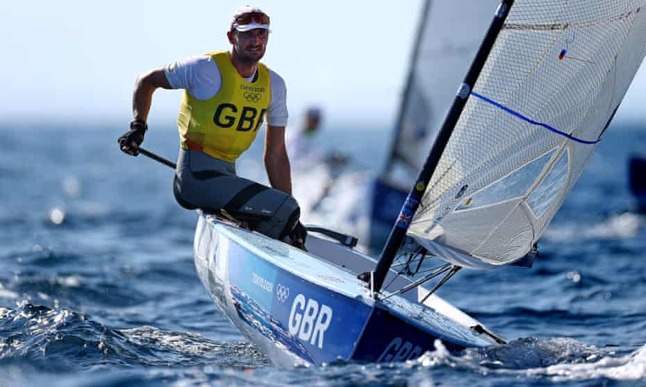 Giles Scott of Team GB competes in the Men's Finn class on Sunday.