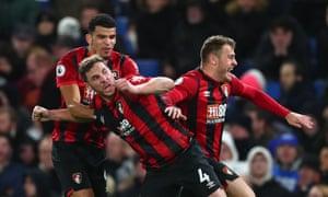 Bournemouth's Dan Gosling celebrates scoring late against Chelsea.