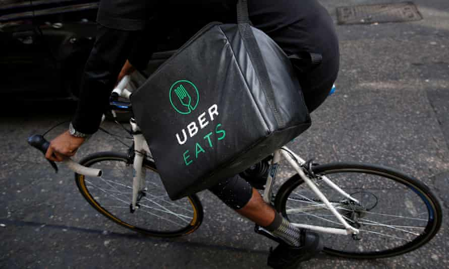 UberEats delivery rider on a bicycle
