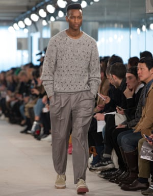 On the catwalk in London: a model in E Tautz's autumn/winter 2016 show.