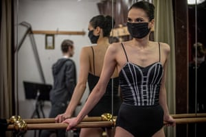 Radka Zvonarova, demisoloist of the Czech National Ballet, wearing protective face mask while getting ready for a rehearsal on Sunday