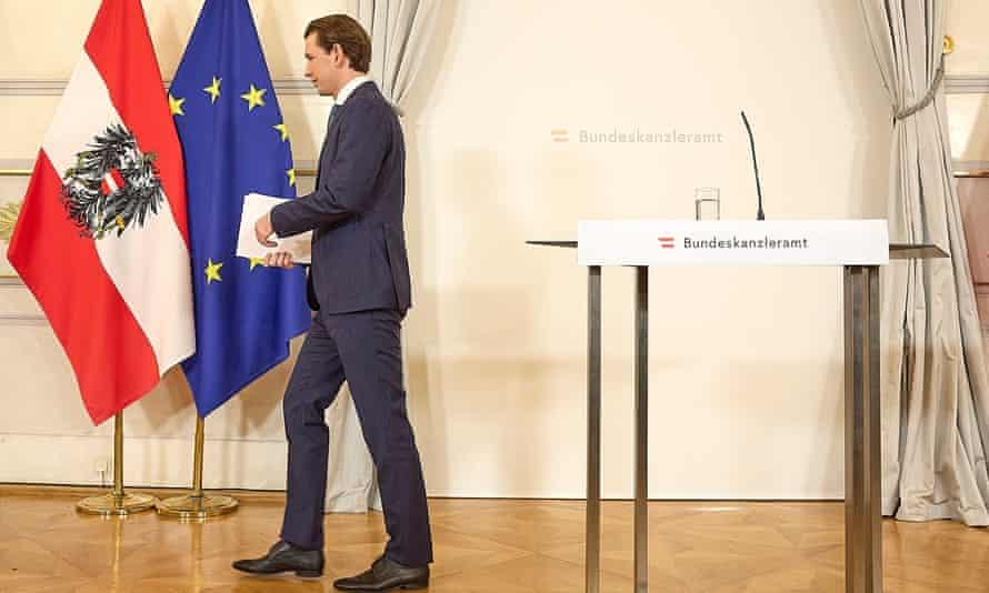 Sebastian Kurz at press conference Saturday, when he announced his resignation