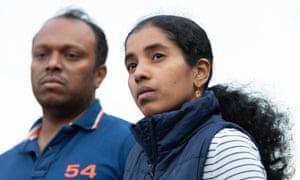 The parents of seven-year-old Aishwarya Aswath: Aswath Chavittupara (left) and Prasitha Sasidharan outside their home in Perth last Thursday.