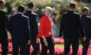 Theresa May during the EU summit in Salzburg.