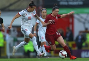 England's Jade Moore (right) did her prospects no harm whatsoever in the the win against Spain.