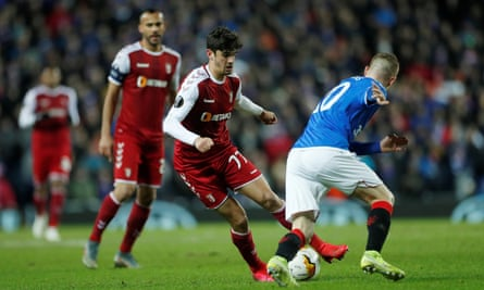 Francisco Trincão in action for Braga against Rangers in the Europa League in February.