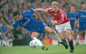 Gus Poyet, in action for Chelsea, battles with Manchester United's Paul Scholes