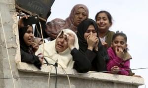 Gaza City, Gaza Strip Relatives chant slogans