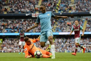 Raheem Sterling jinks round West Ham United's keeper Adrian before slotting home from a very tight angle.