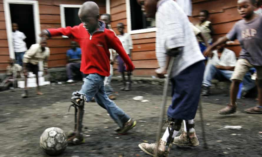 Children with polio play football in Goma in eastern DRC.
