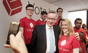 Darren Crimes and Michael Gove at launch of Vote Leave campaign